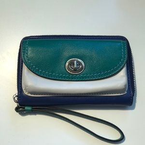 Coach blue and green  wristlet wallet